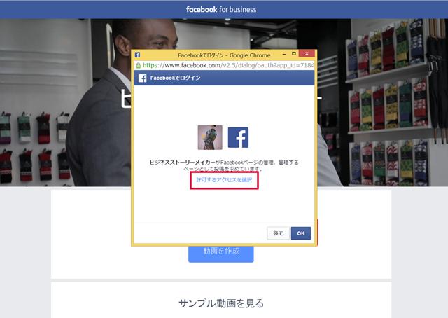 Facebookページのアクセス情報の確認画面を表示