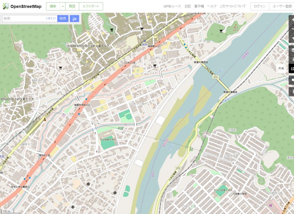 OpenStreetMapシェアボタン